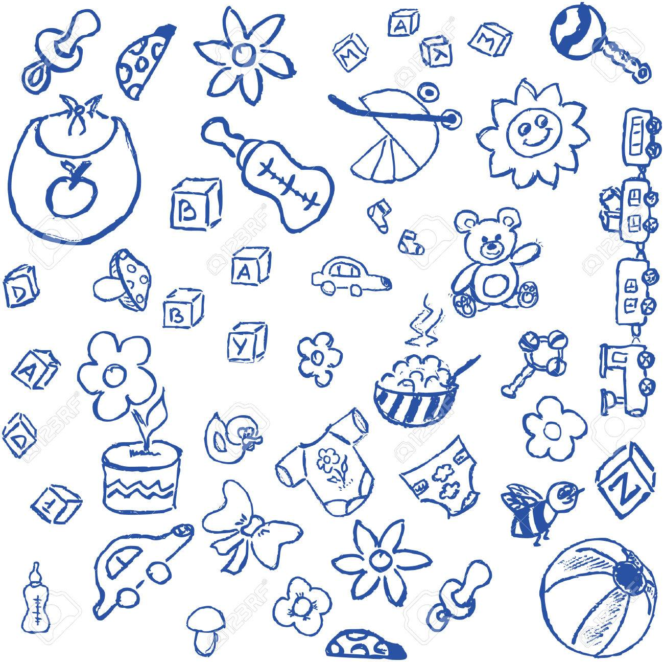 full page of fun hand draw doodles on a theme royalty free cliparts