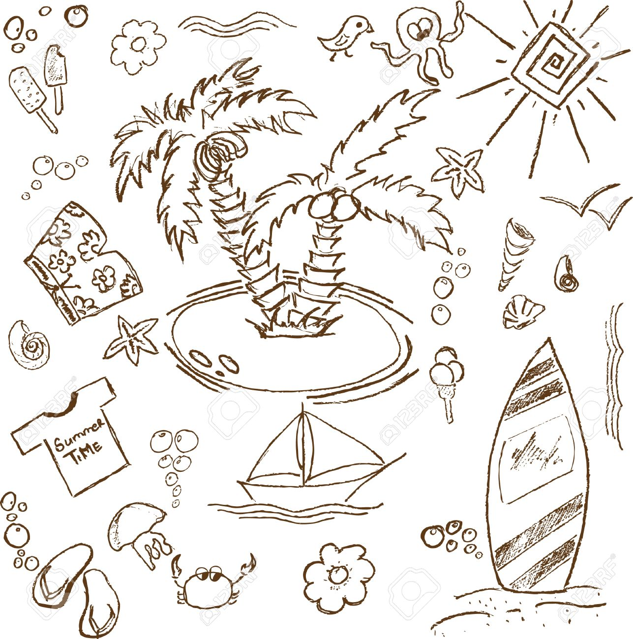 full page of fun hand draw doodles on a summer theme royalty free