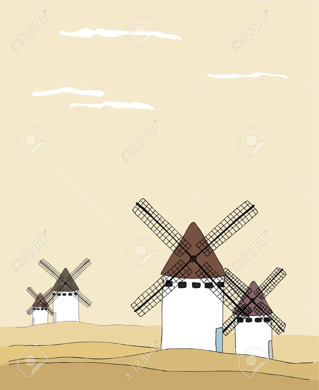 Traditional tranquil landscape with windmills Stock Vector - 5501762