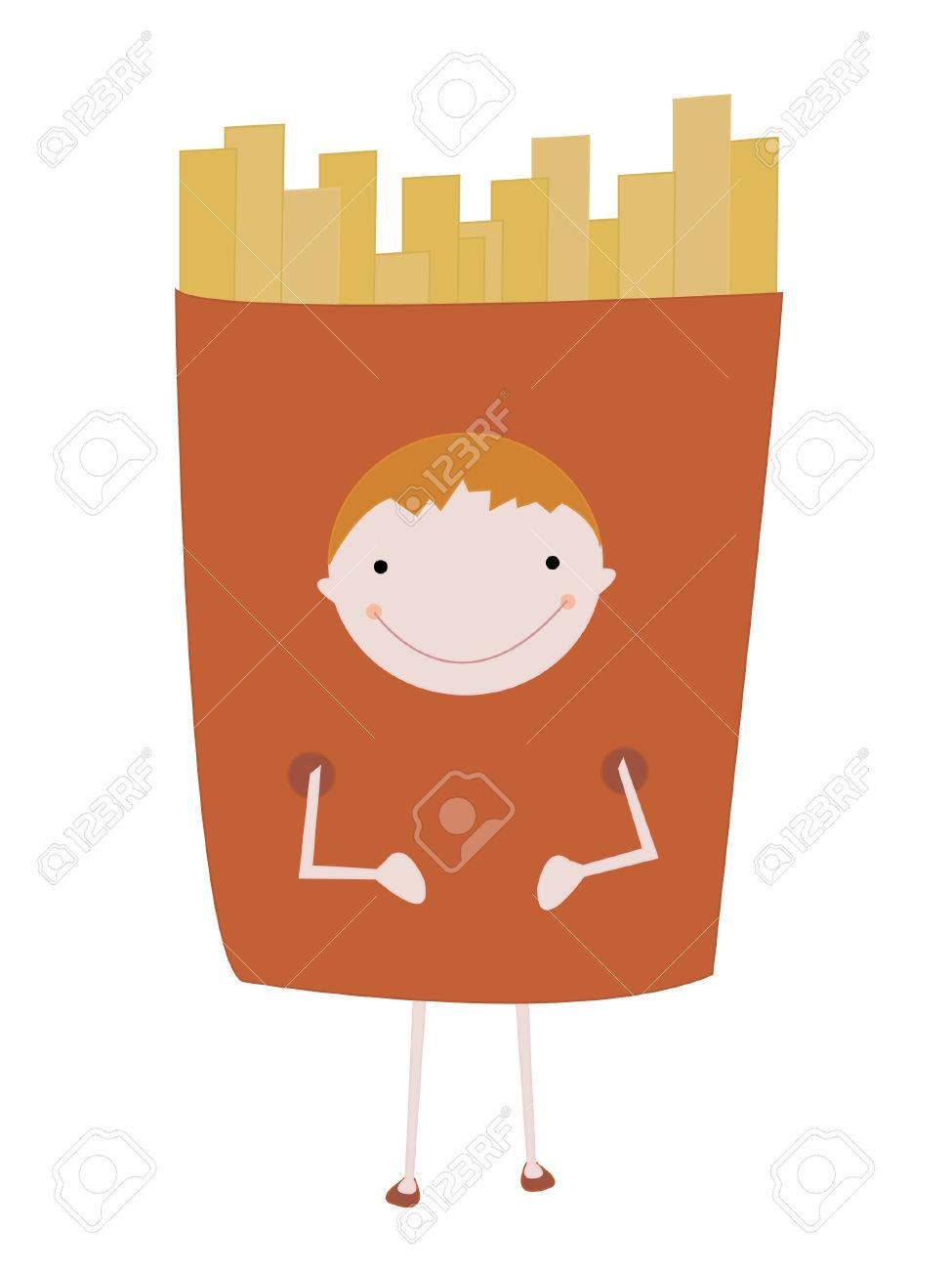 Cut cartoon boy is dressed in a suit of the french fries Stock Vector - 5601758