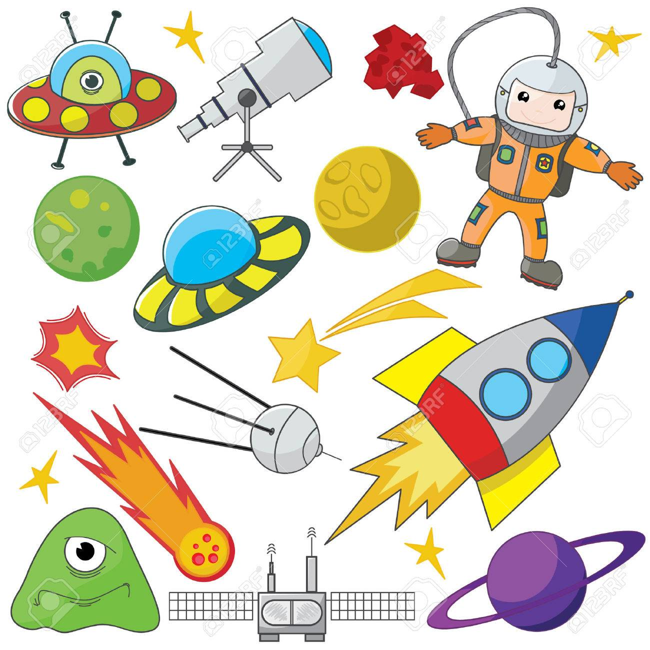 Fully editable vector illustration of a collection of space elements Stock Vector - 5863913