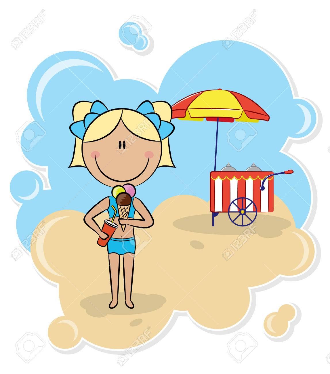 Cheerful girl with ice-cream on the beach Stock Vector - 7255851