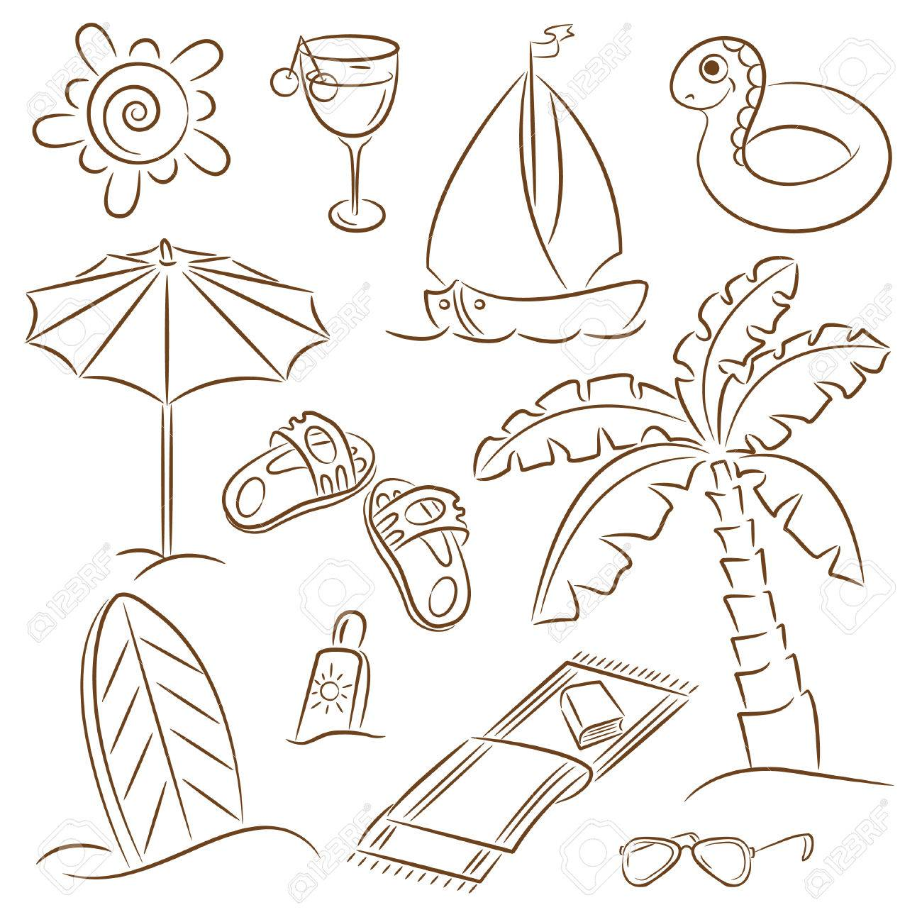 Beach Sandals Drawing Beach Towel Summer Beach