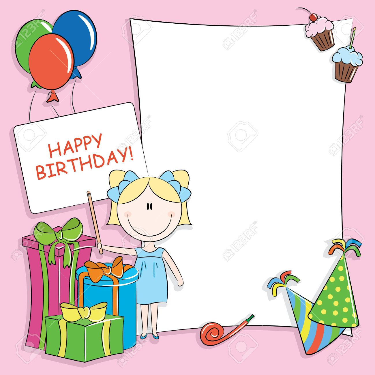 Good Happy Birthday Greeting Card With Blank Place For Your Wishes And Message  Stock Vector   7548128