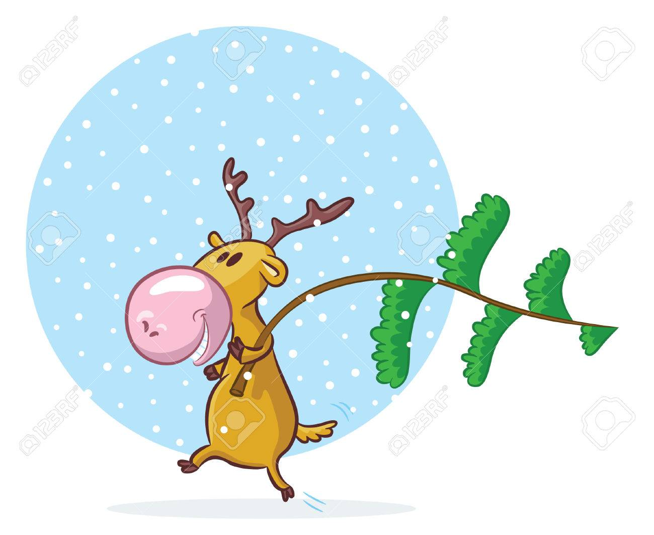 funny deer going to decorate pine tree for christmas royalty free