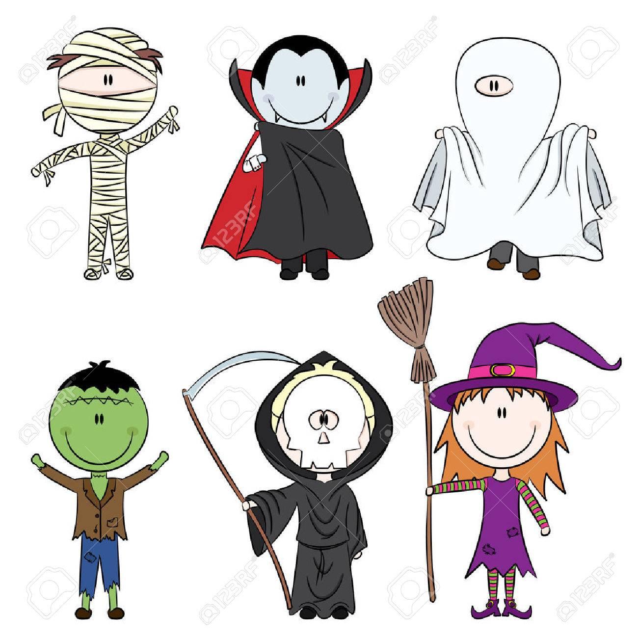 Foto de archivo , Los niños vestidos con trajes listos para celebrar  Halloween
