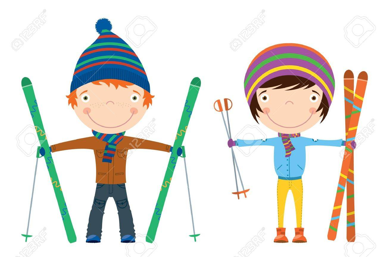Funny cool kids with skis isolated on white background Stock Vector - 11549608