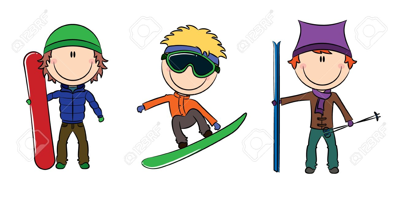 Funny Cute Boys With Snowboard And Skis Royalty Free Cliparts Vectors And Stock Illustration Image 11556658
