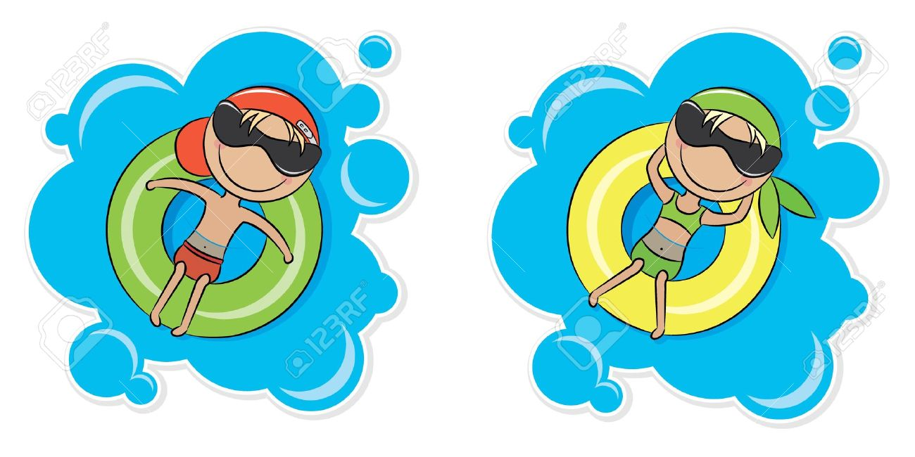 Illustration of a young cheerful girl and boy relaxing on inner tube - 11853849