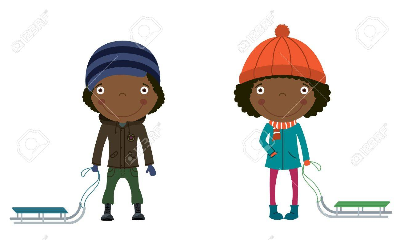 Cute African-American Children With Sleds Ready To Ride Royalty ...