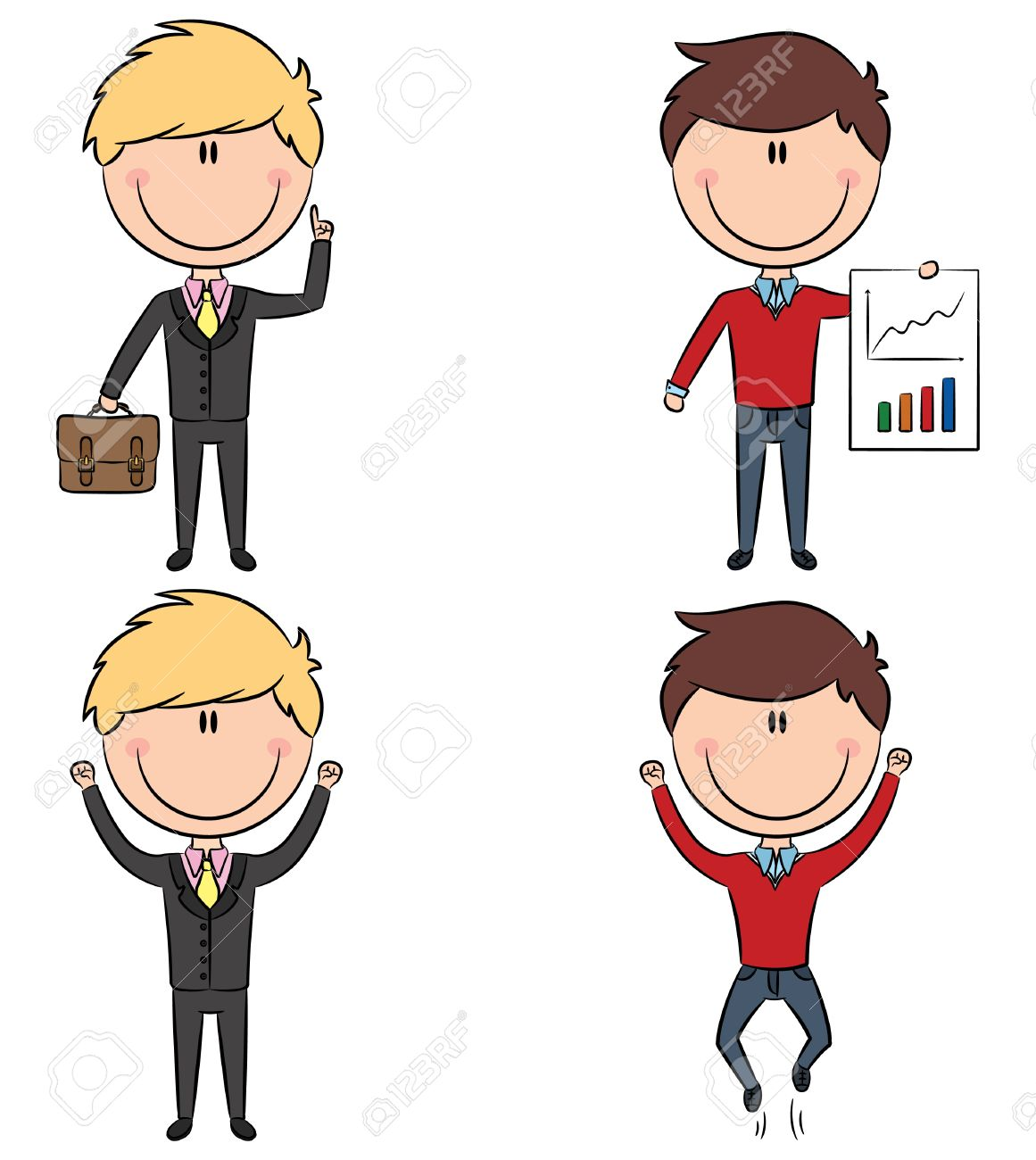 Cute and funny cartoon office managers: have an idea, presentation, victory. Color version Stock Vector - 12975991