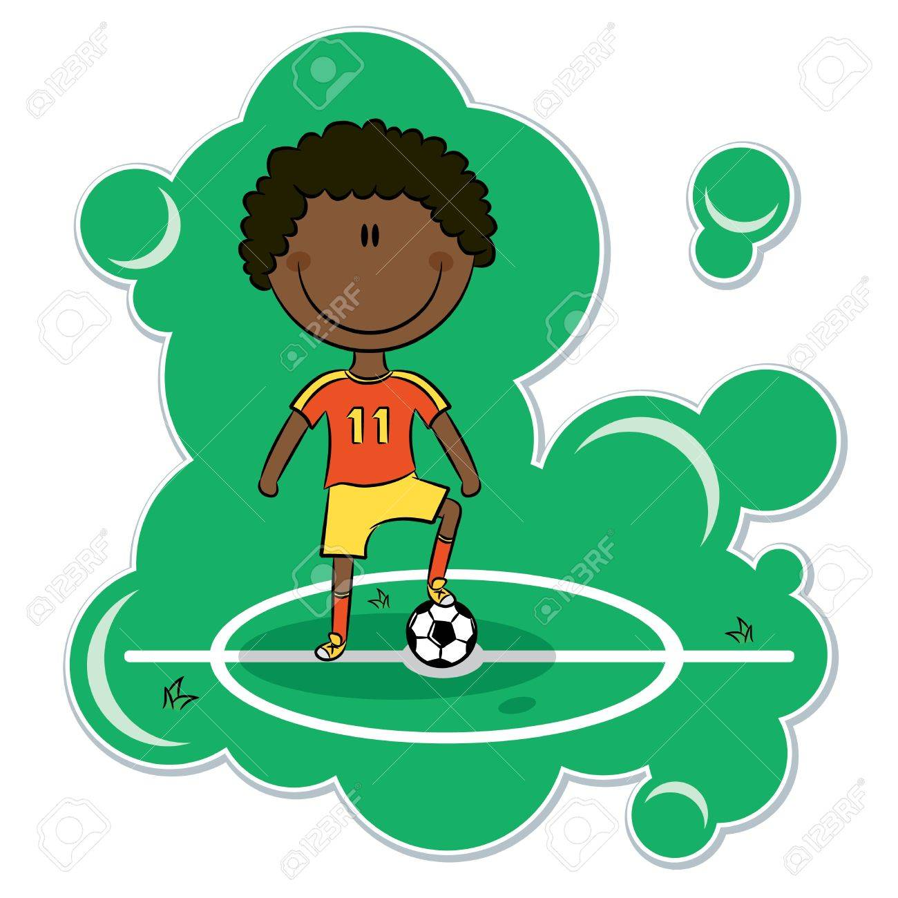 Cartoon African-American soccer player stand on the field with ball Stock Vector - 13281281