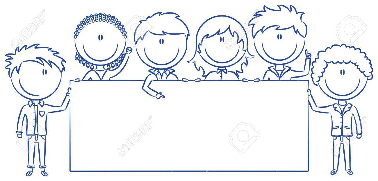 Cute multiethnic boys and girls holding empty blank banners. Stock Vector - 13497643