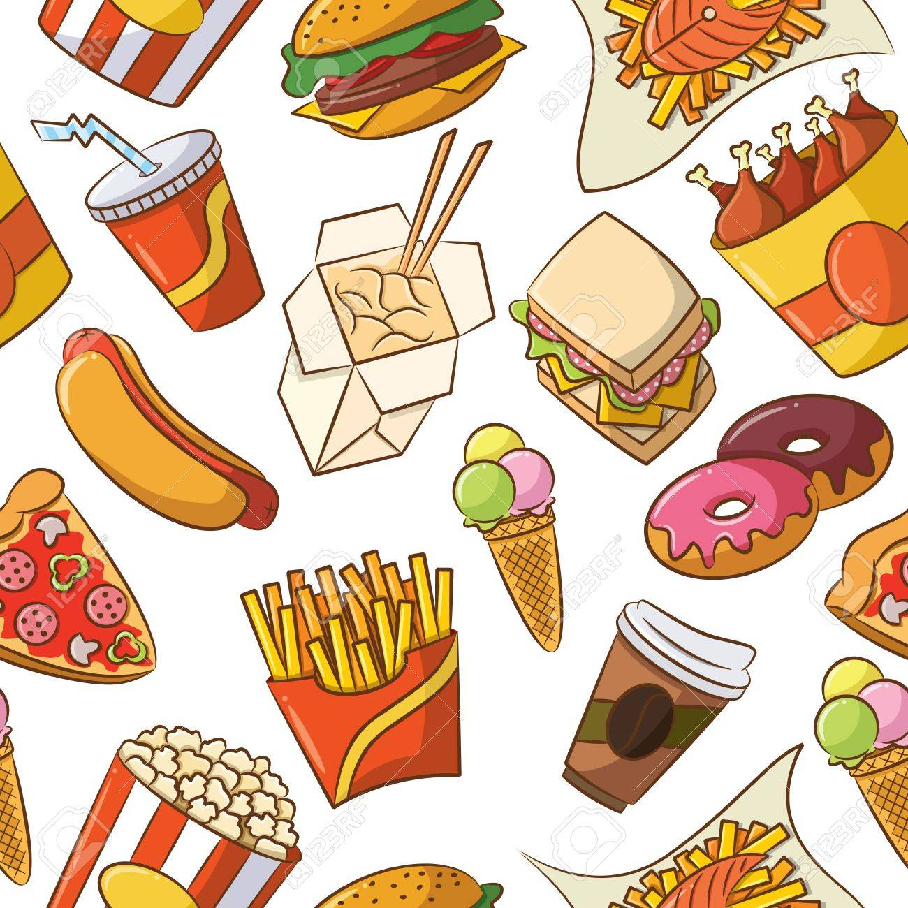 Cute seamless pattern with fast food Stock Vector - 13793463