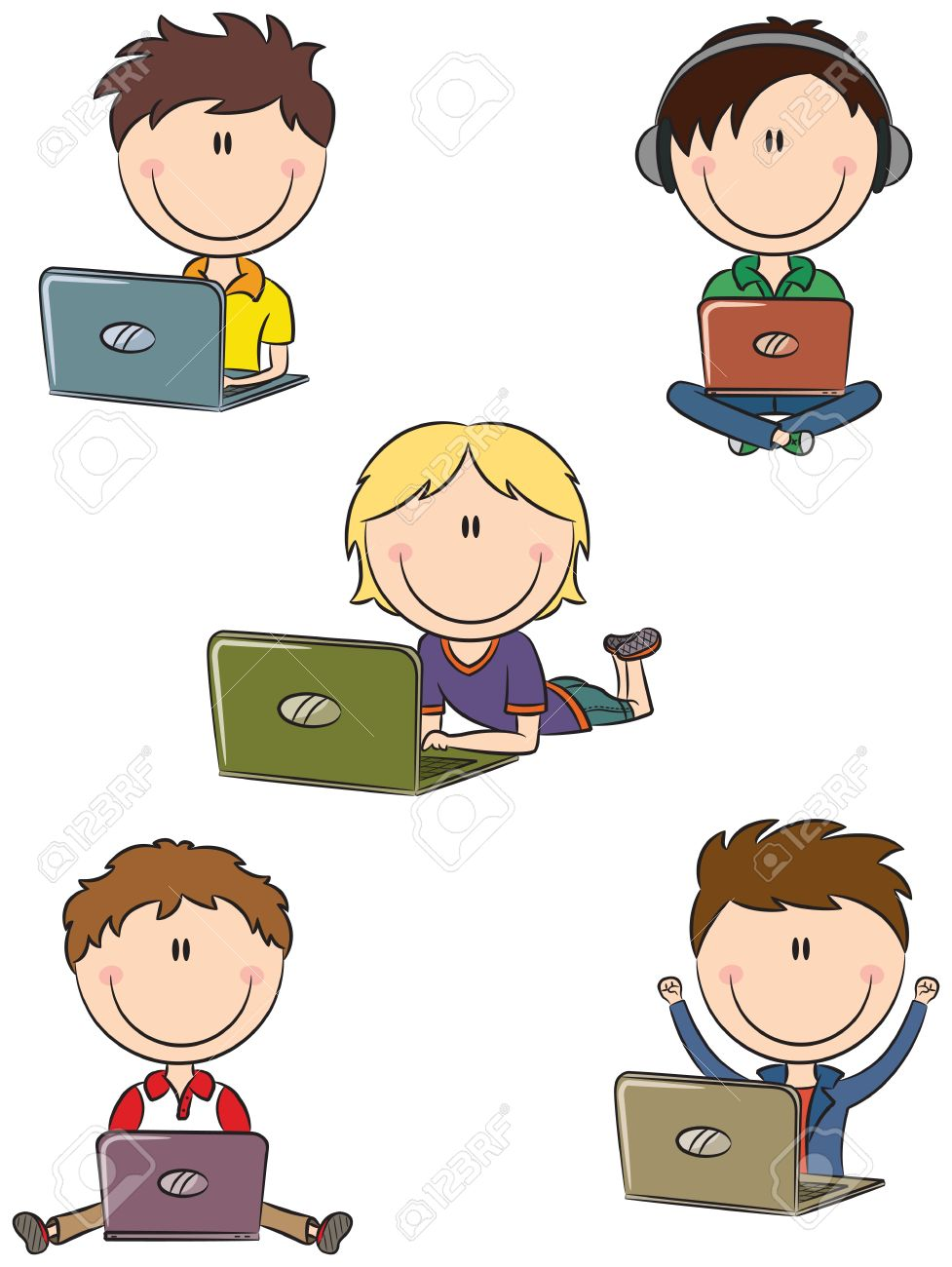 Cute cheerful boys with laptops sitting in different poses - 14375190