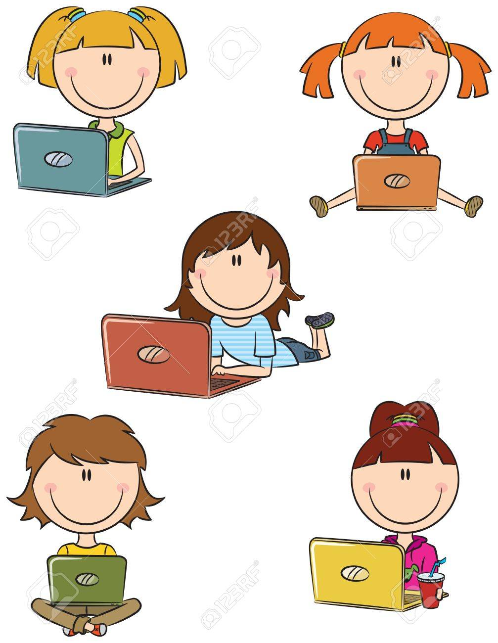 Cute cheerful  girls with laptops sitting in different poses Stock Vector - 14375192