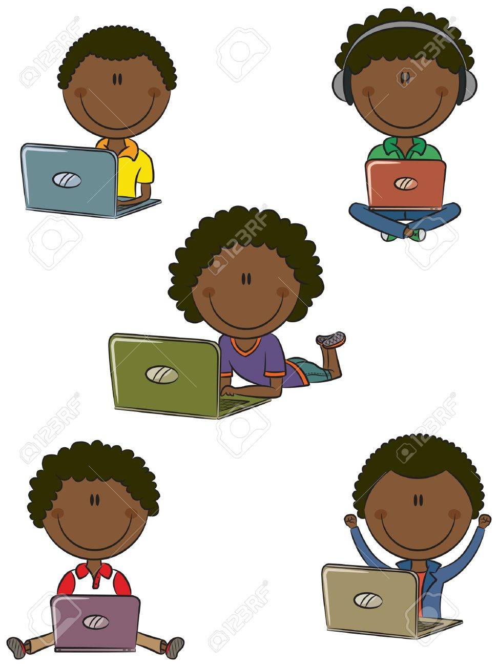 Cute African-American boys with laptops sitting in different poses Stock Vector - 15073466