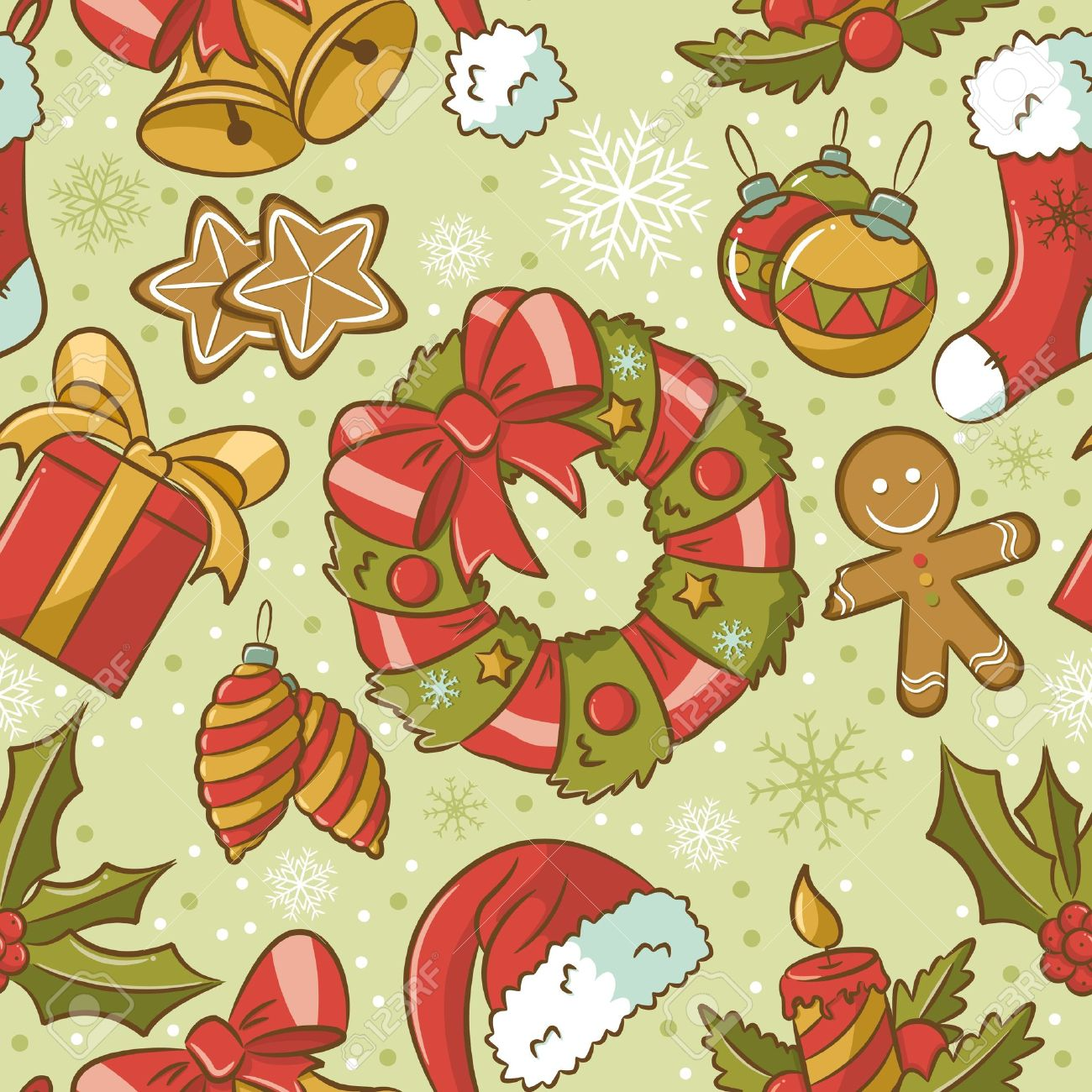 Cute Vintage Seamless Pattern On Christmas Theme Royalty Free ...