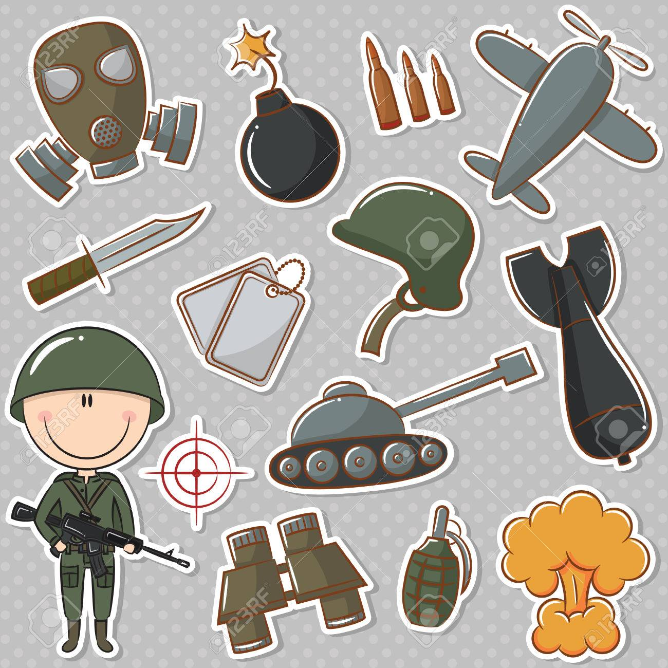 Soldier with military things Stock Vector - 27142776