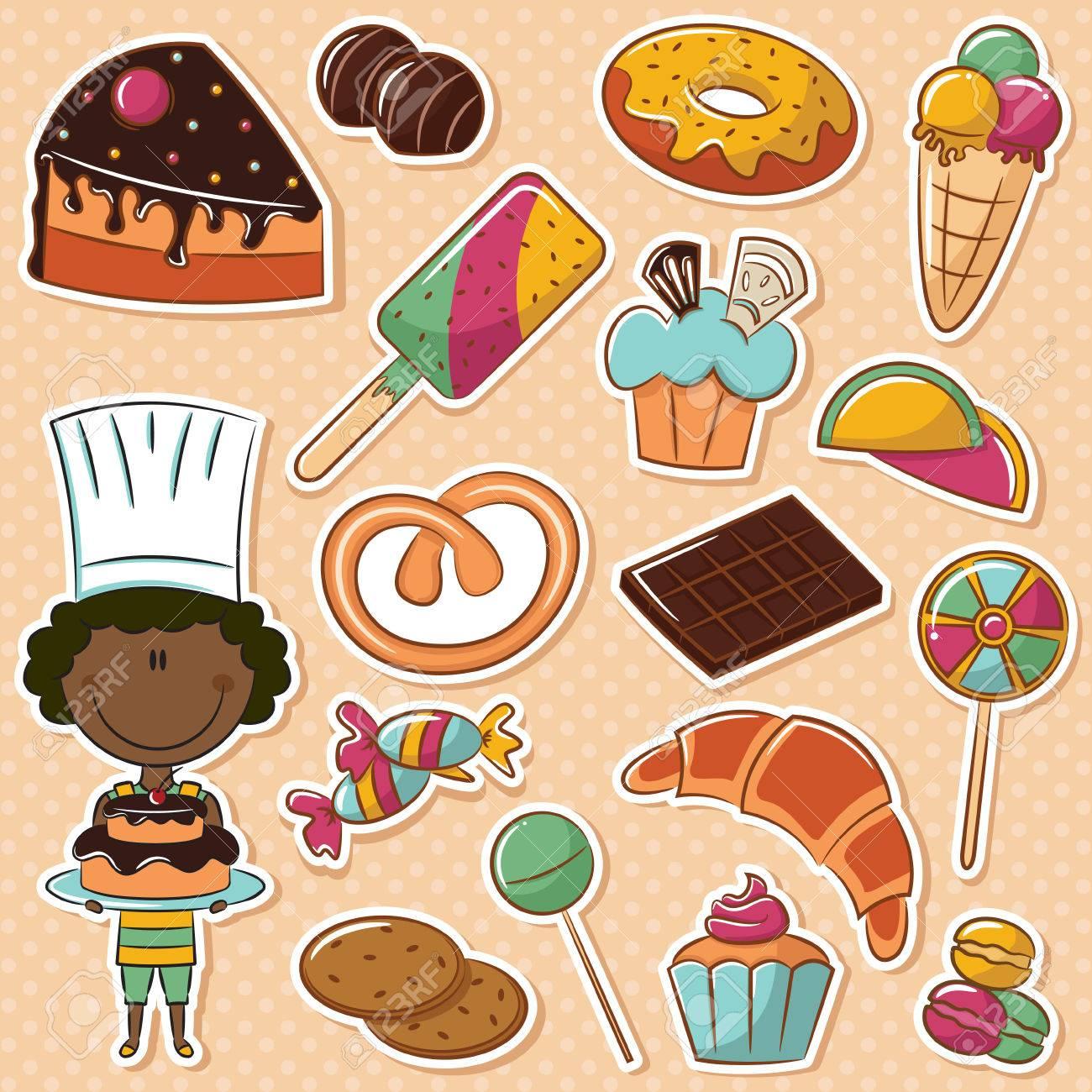 別のお菓子とかわいいアフリカ系アメリカ人の菓子のイラスト素材 ベクタ Image