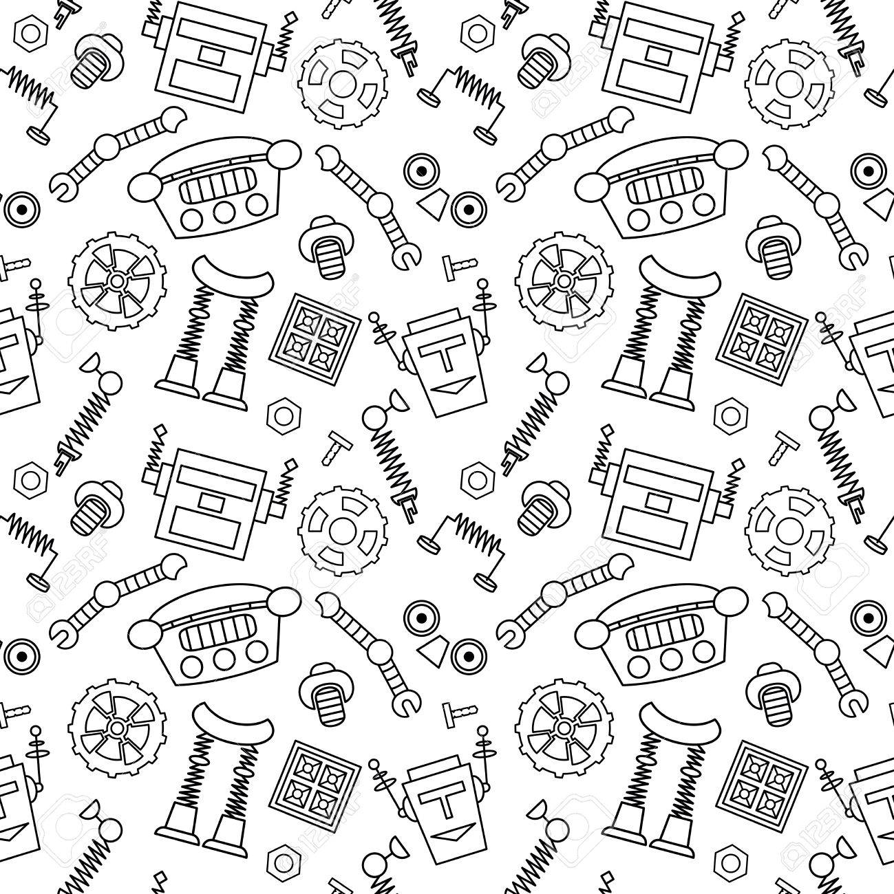 Smart robot parts and details background seamless pattern