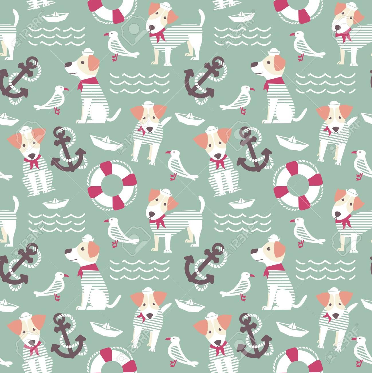 セーラー テリア犬シームレス パターン かわいい犬と海洋