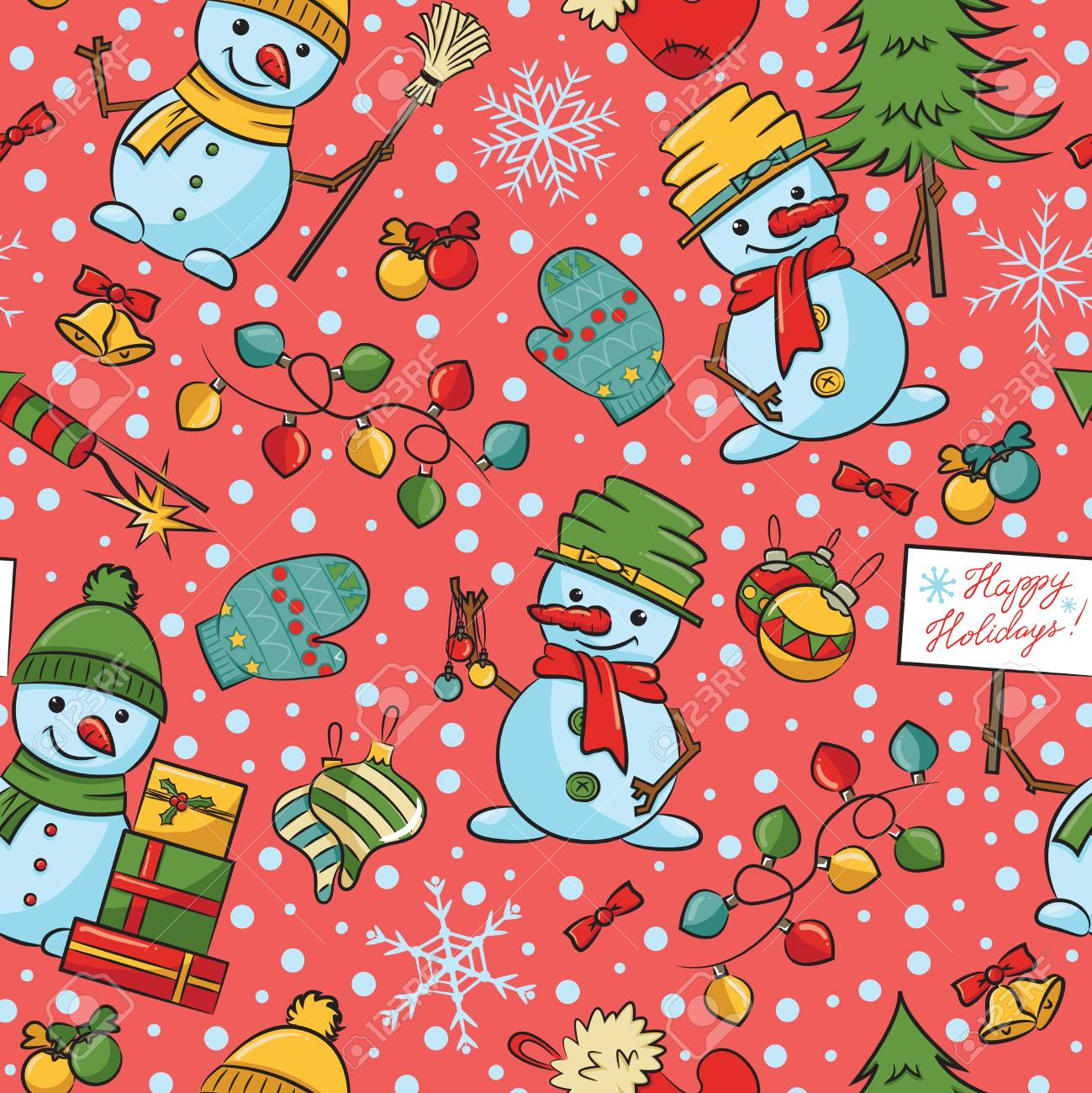 91356574 cartoon snowmen with decorations seamless pattern christmas wallpaper with cute characters trees gif