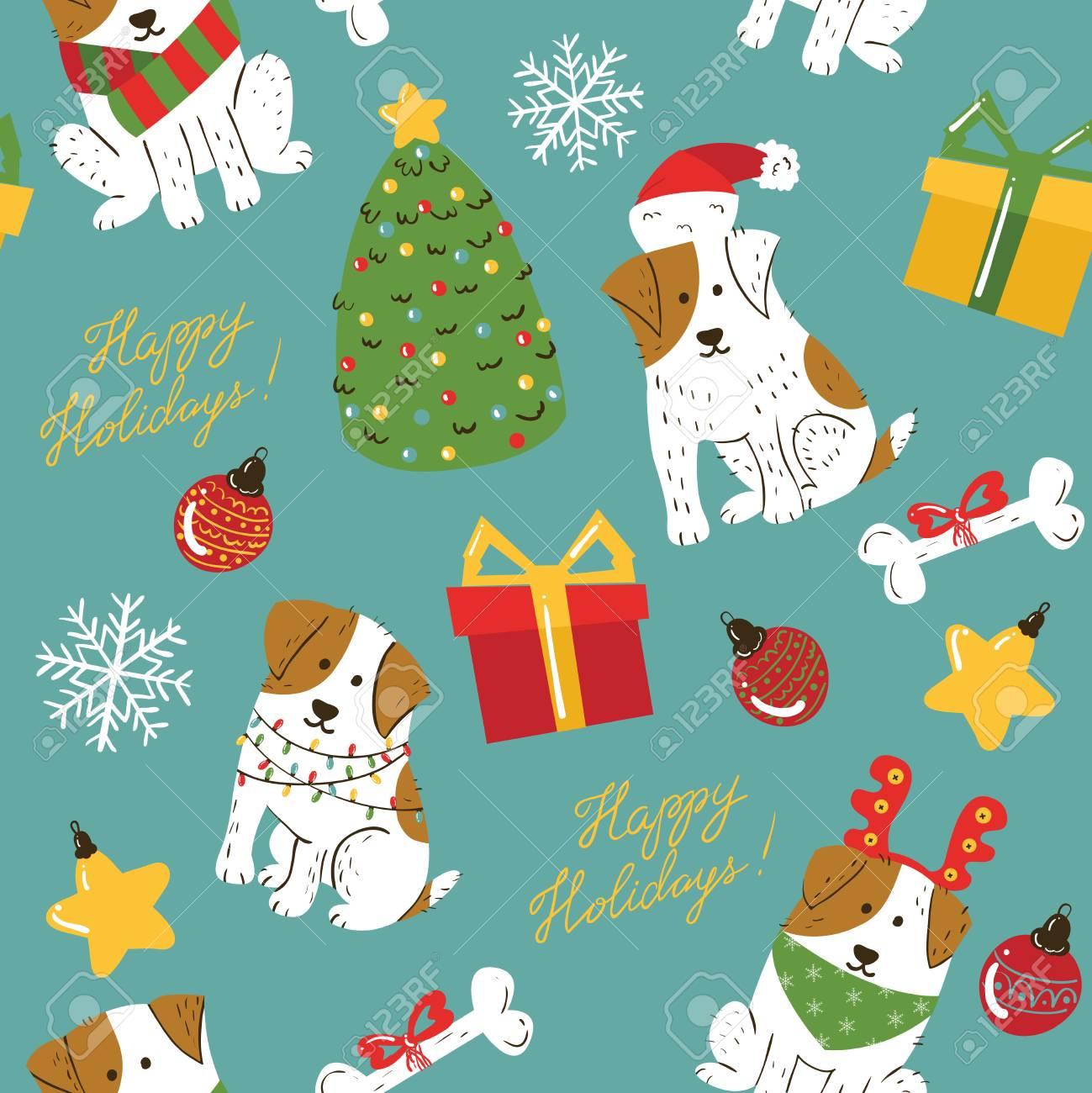 茶色の斑点とクリスマスかわいい白い犬シームレスなパターン クリスマスツリー 装飾 ギフトボックスとレタリングハッピーホリデー壁紙と面白いペット 冬のお祝いベクトルの背景 のイラスト素材 ベクタ Image