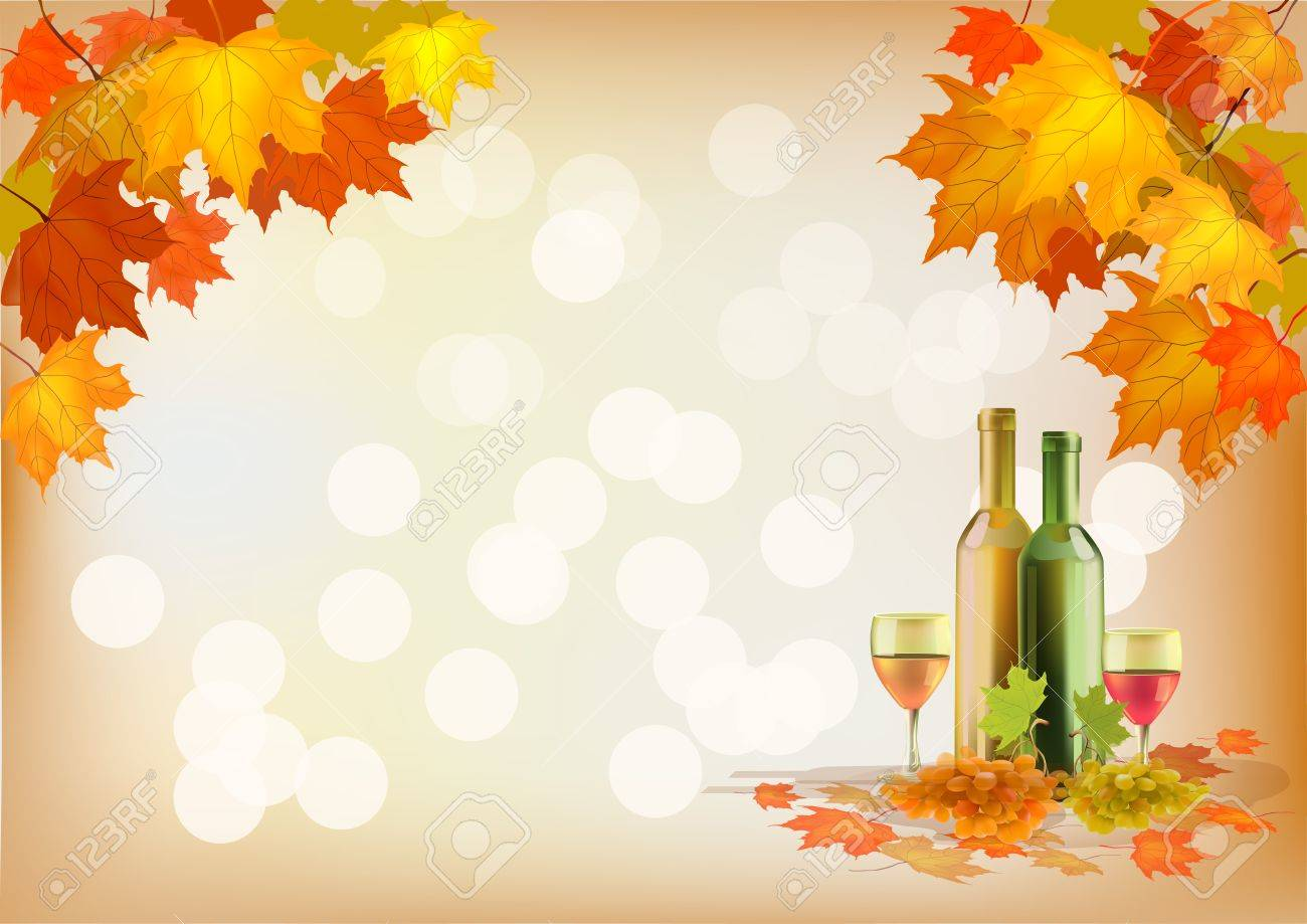 Autumn , postcard .Ripe grapes, wine glass and bottle wine . Stock Vector - 15932027