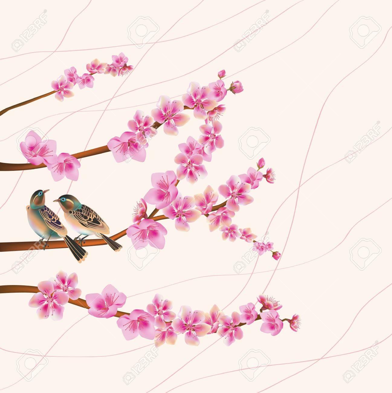 sakura ,bird , spring , postcard Stock Vector - 17581243
