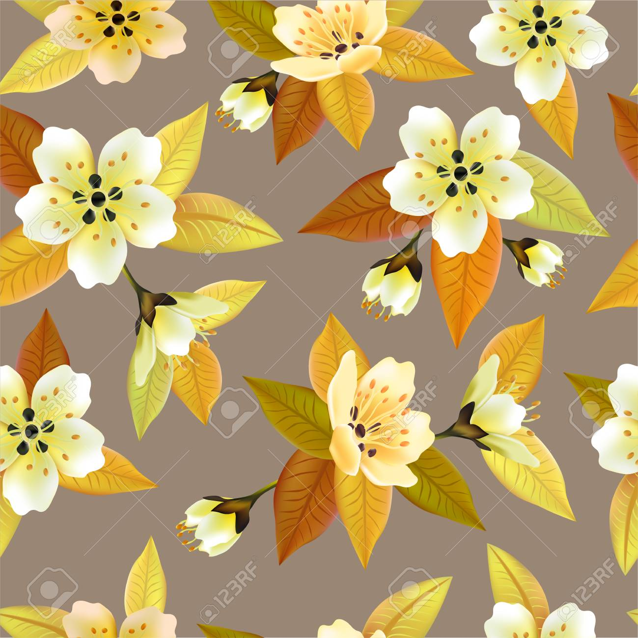 Vector Seamless Spring Background With White And Pink Flowers