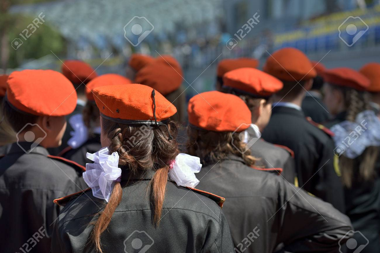 e6e48a1cda59f Members of the youth military-patriotic club in orange berets are taking  part in the