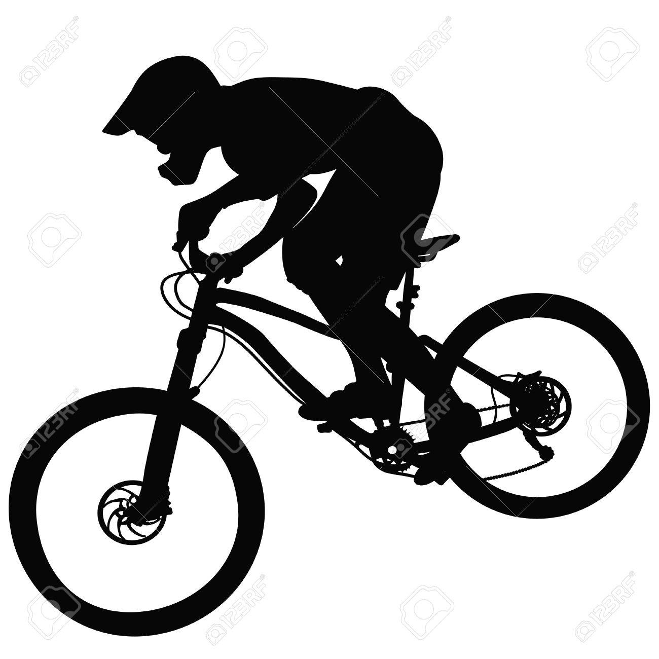 Bike Race On A Mountain Slope Silhouette Vector Royalty Free