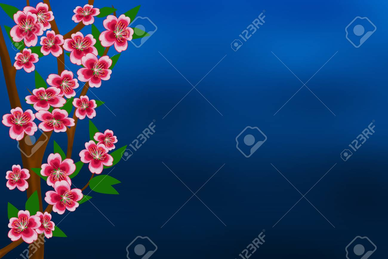 The branches of an apple tree with flowers and leaves on the stock stock photo the branches of an apple tree with flowers and leaves on the abstract blue background izmirmasajfo