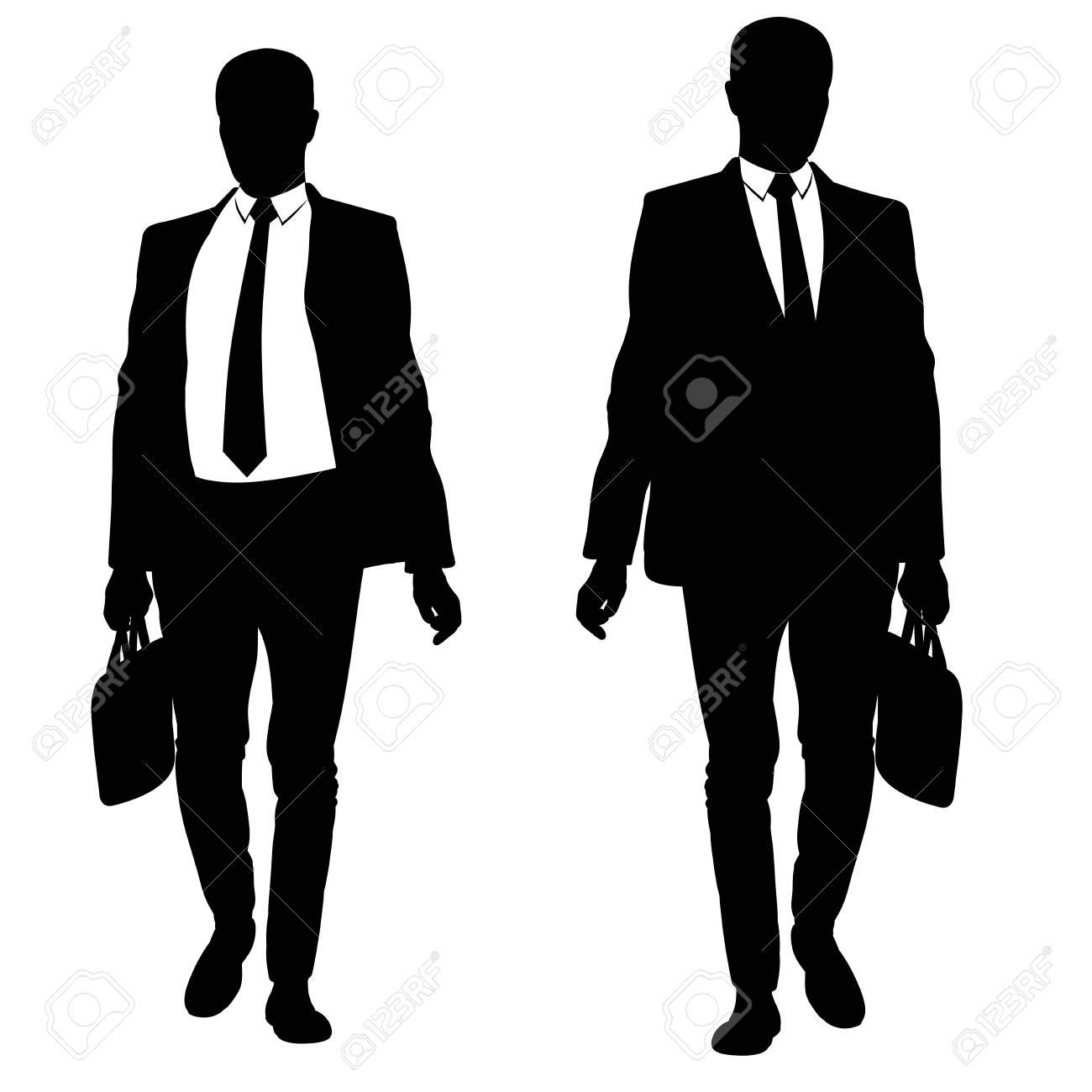 スーツとネクタイで歩く男性のシルエットのイラスト素材ベクタ Image