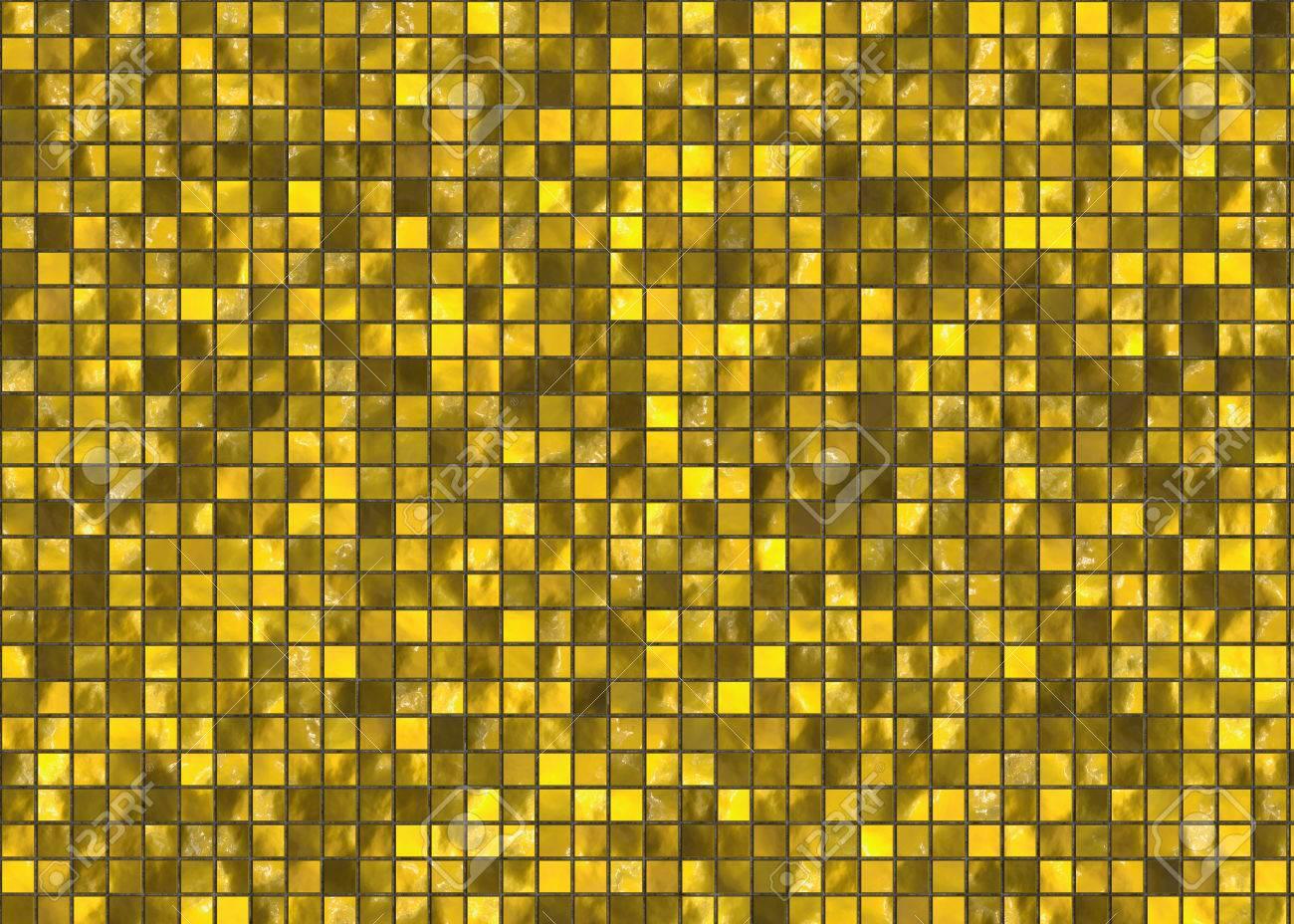 Gouden Mozaiek Tegels : Vele kleine gouden vierkante tegel mozaïek patroon textuur