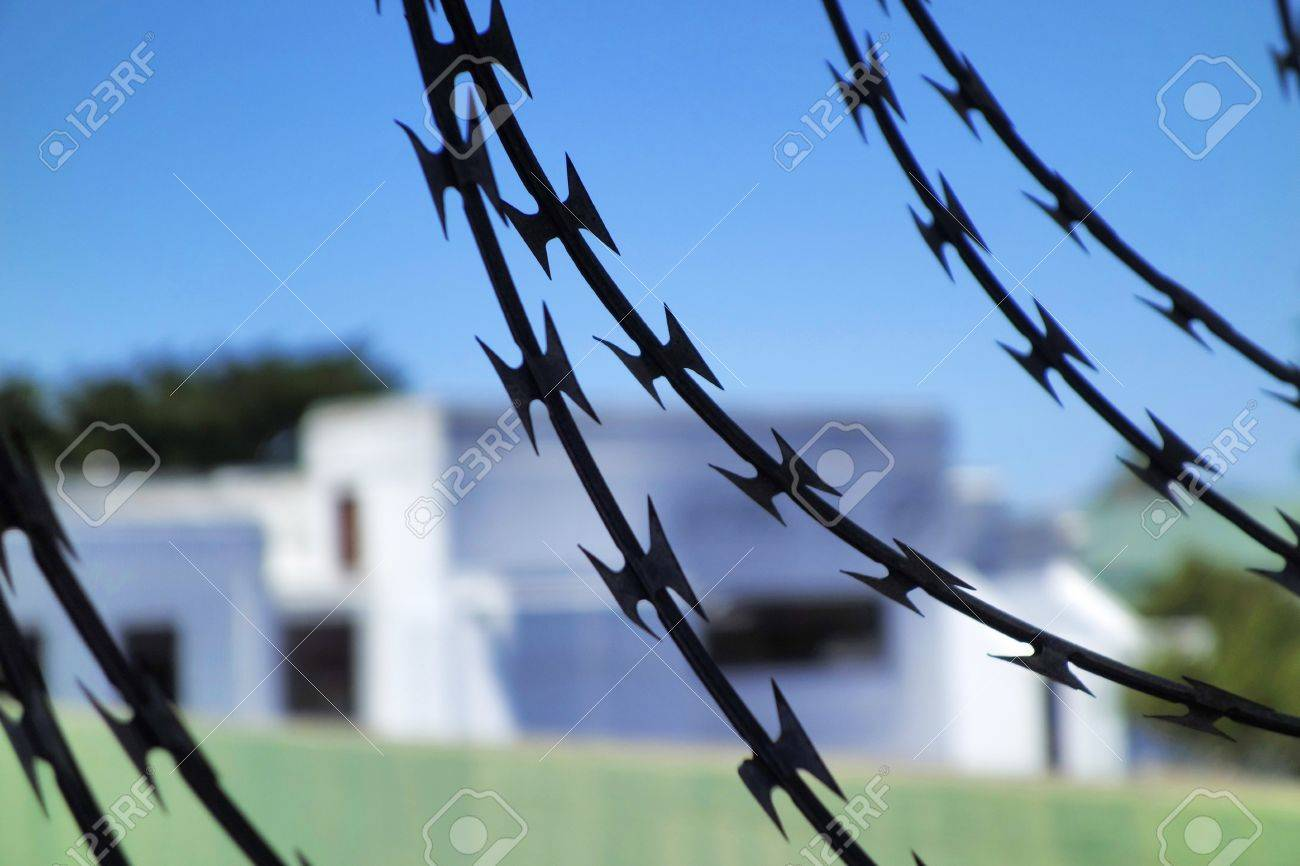 Strong And Dangerous Barbed Wire, Used To Protect The House And ...