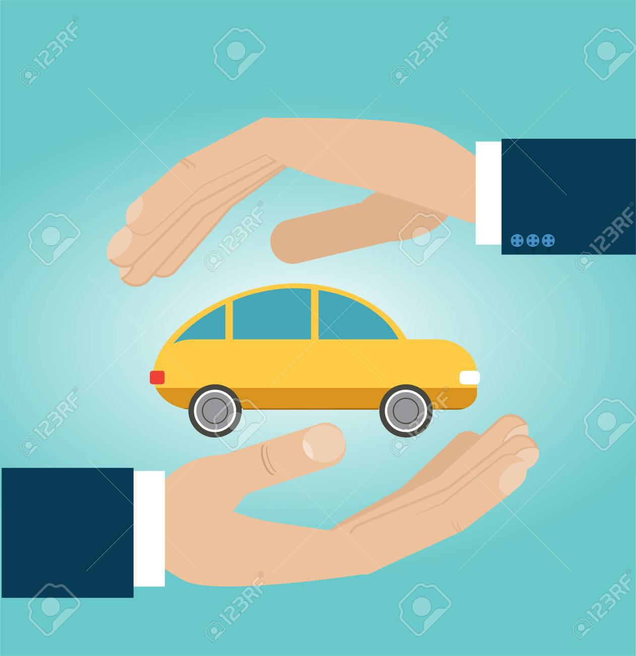 Hands Insurance Agent Protects Car. Concept Car Insurance. Vector ...