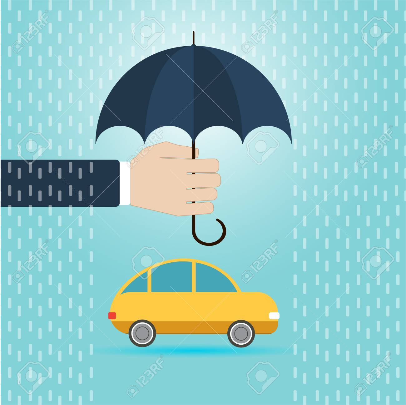 Hand With Umbrella Protect Car Insurance Concept Flat Vector