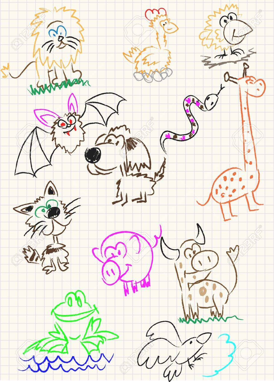 Vector elements of design stylised under children's drawing a pencil. A sketch of animals Stock Vector - 10639471