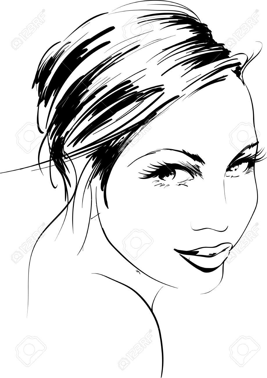 Hand-drawn fashion model. Vector illustration. Woman's face Stock Vector - 11612796