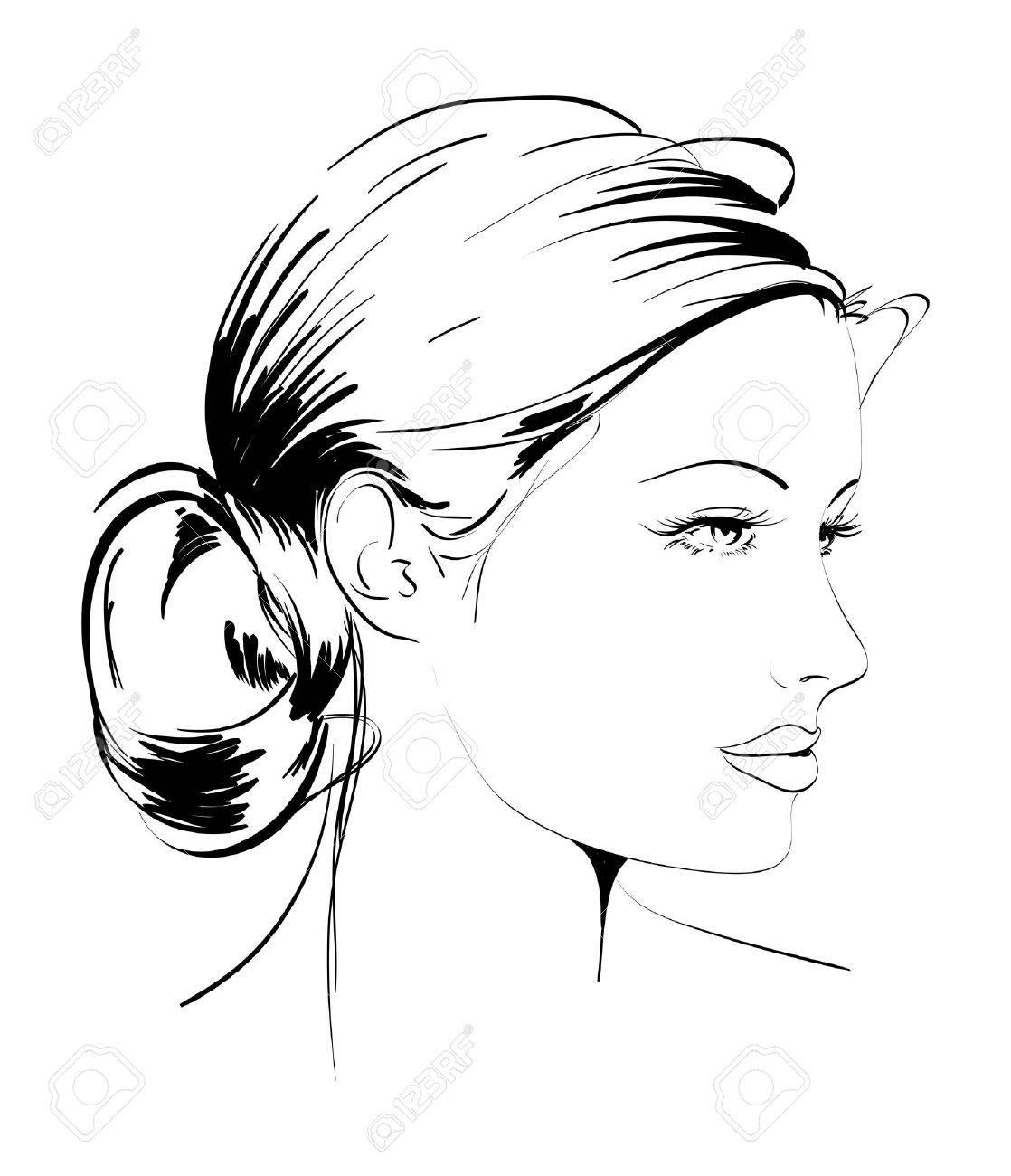 Illustration Visage tiré par la main de mannequin. illustration. visage d'une femme clip