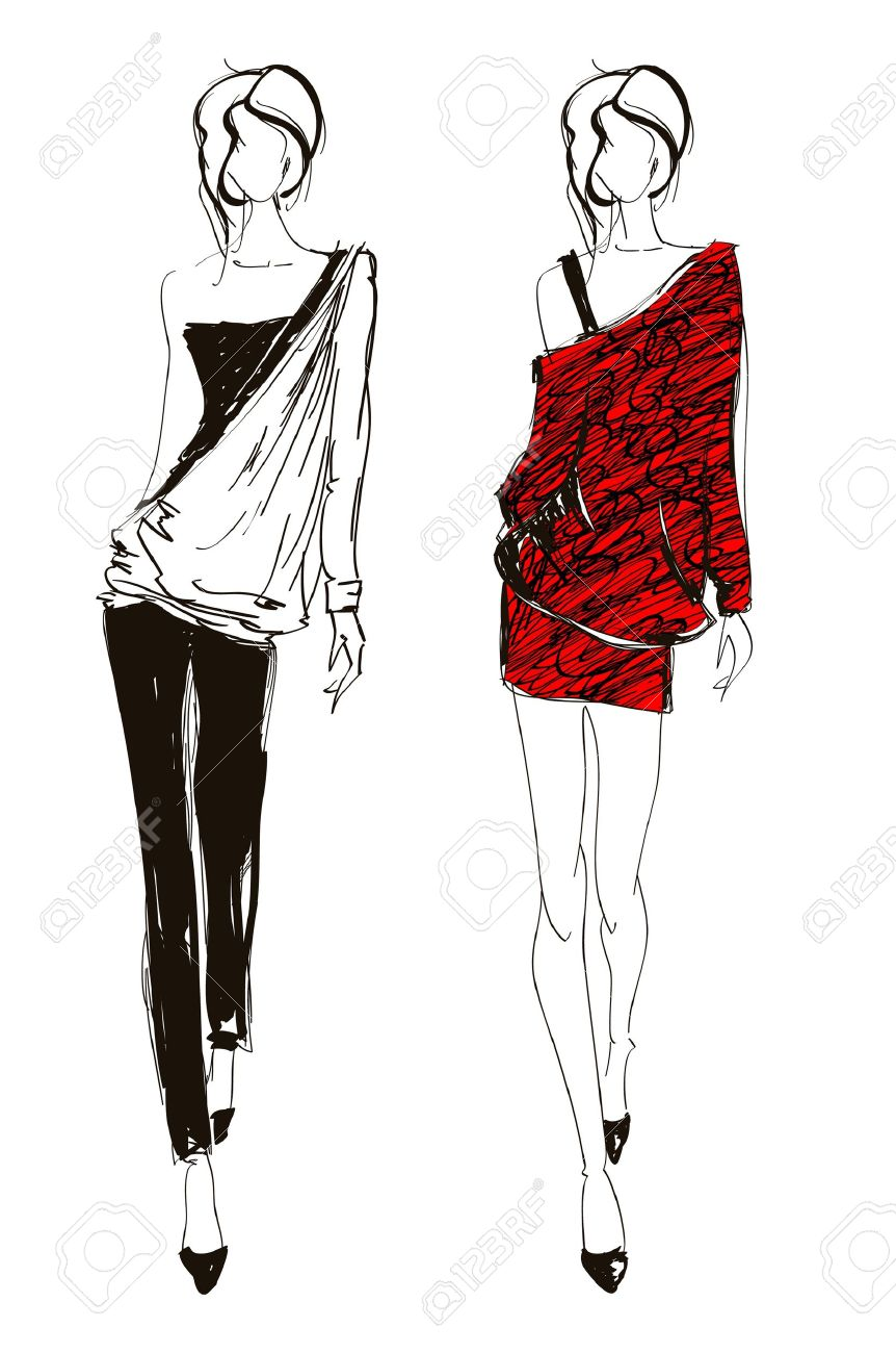 Hand drawn fashion designs