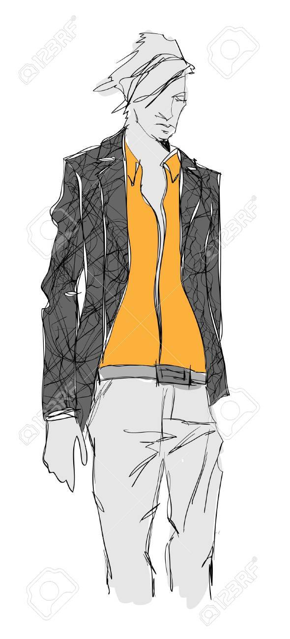 Sketch of fashion handsome man Stock Vector - 11613447