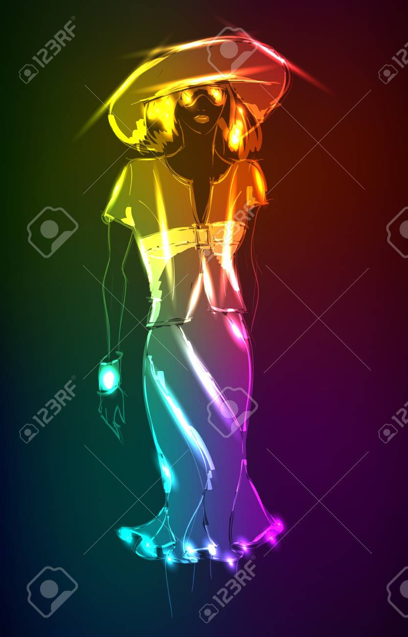 Hand-drawn fashion model from a neon. Vector illustration. A light girl's Stock Vector - 12246067