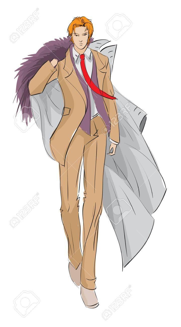 SKETCH. fashion girl. Hand-drawn fashion model Stock Vector - 12485509