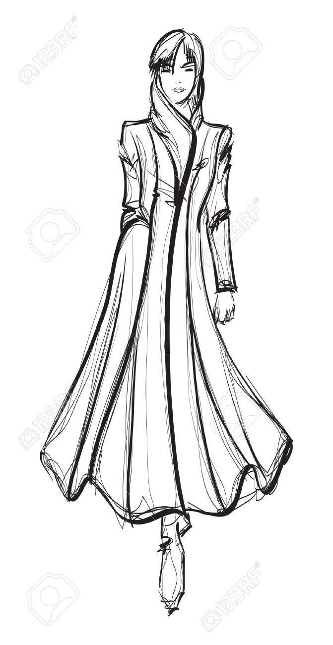 SKETCH. fashion girl. Hand-drawn fashion model Stock Vector - 12485936