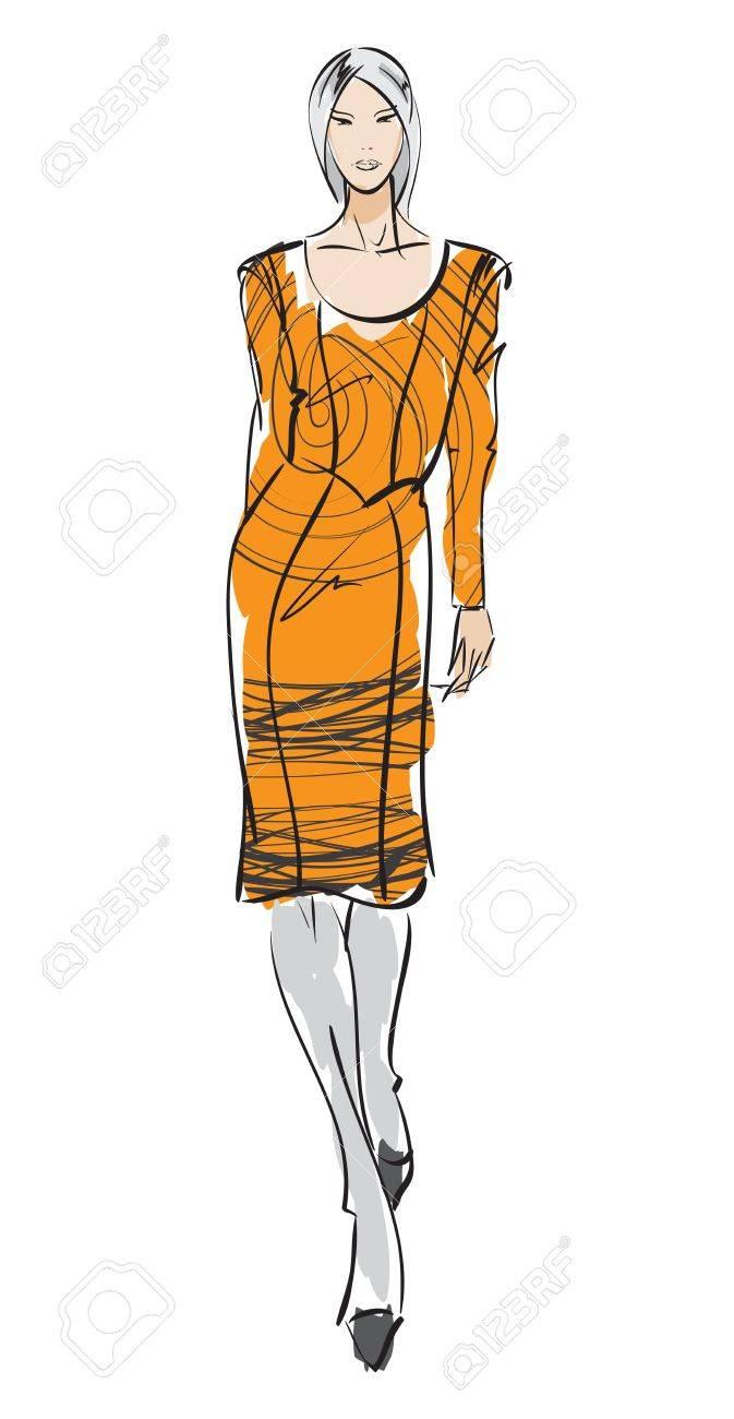 SKETCH. fashion girl. Hand-drawn fashion model Stock Vector - 14015986
