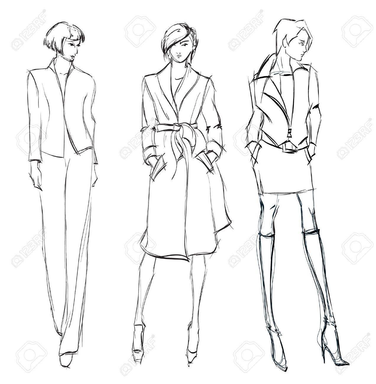 SKETCH  fashion girl  Hand-drawn fashion model Stock Vector - 14971272