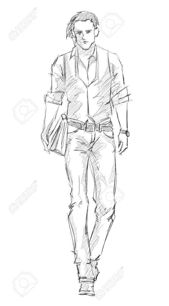 Sketch. Handsome stylish man showcasing street fashion Stock Vector - 15842223